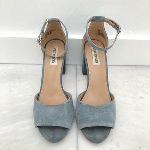 Steve Madden Blue Suede Mirna Block Heel Sandals 9